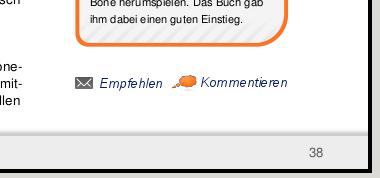 Beispiel-Mockup für die neuen Icons zum Empfehlen und Kommentieren eines freiesMagazin-Artikels
