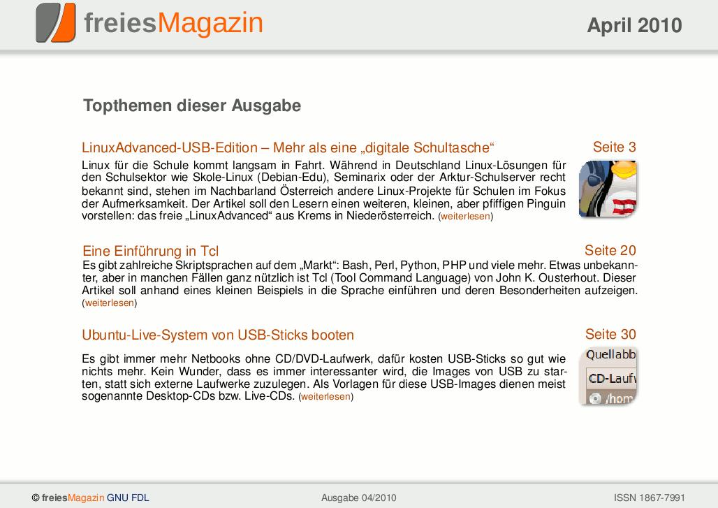 freiesMagazin 04/2010 Titelseite