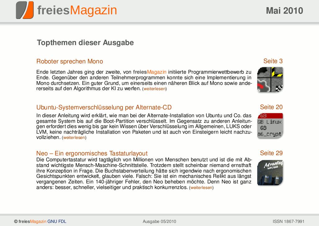freiesMagazin 05/2010 Titelseite