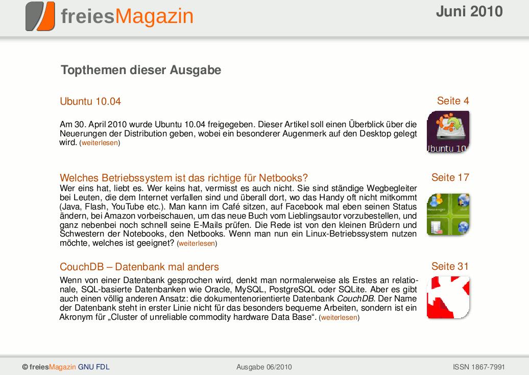 freiesMagazin 06/2010 Titelseite
