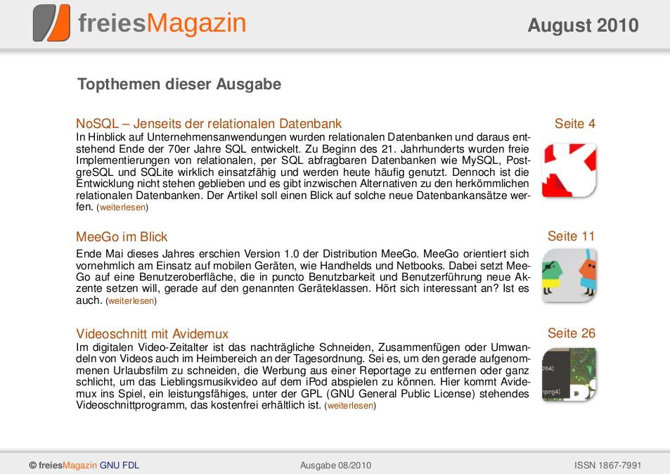 freiesMagazin 08/2010 Titelseite