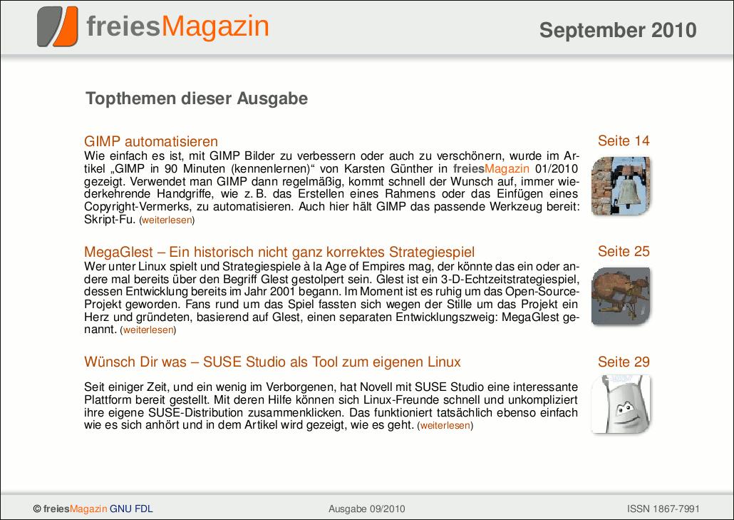 freiesMagazin 09/2010 Titelseite
