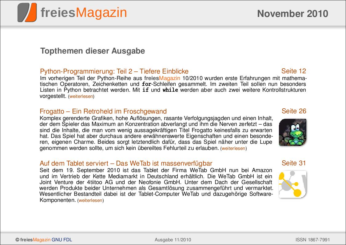freiesMagazin 11/2010 Titelseite