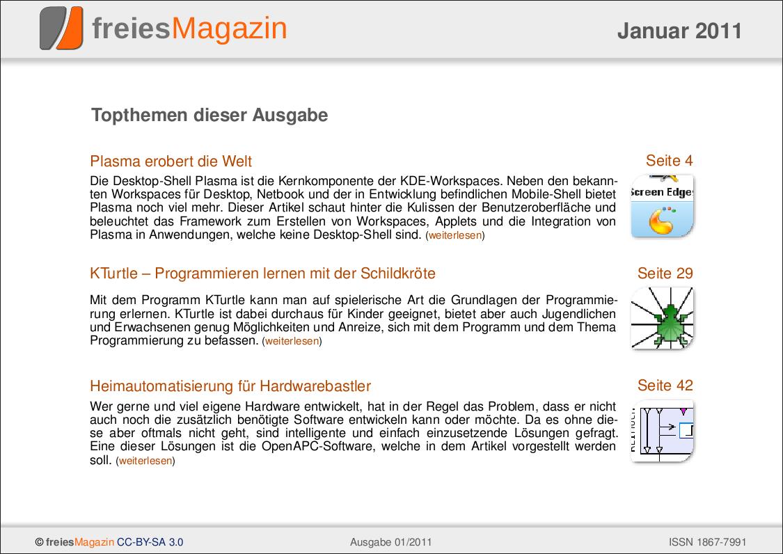 freiesMagazin 01/2011 Titelseite