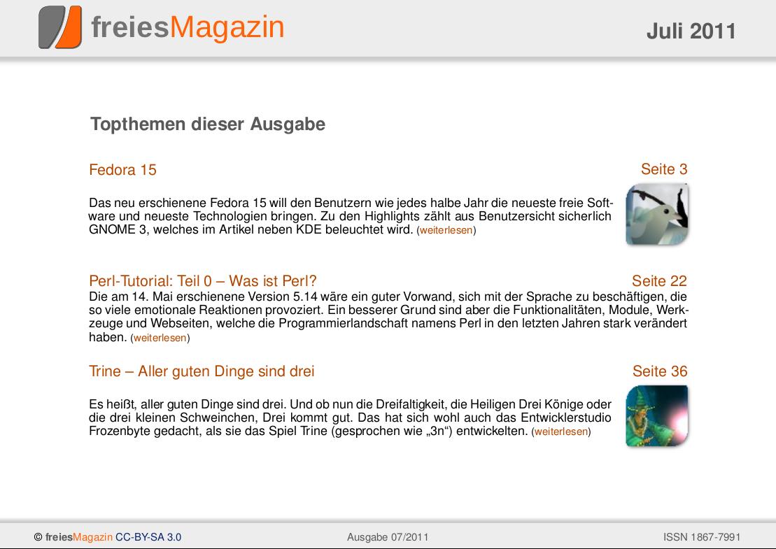 freiesMagazin 07/2011 Titelseite