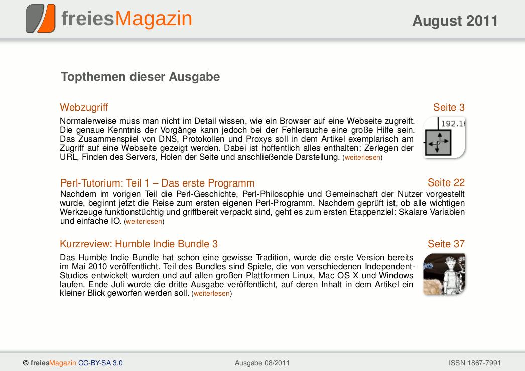 freiesMagazin 08/2011 Titelseite