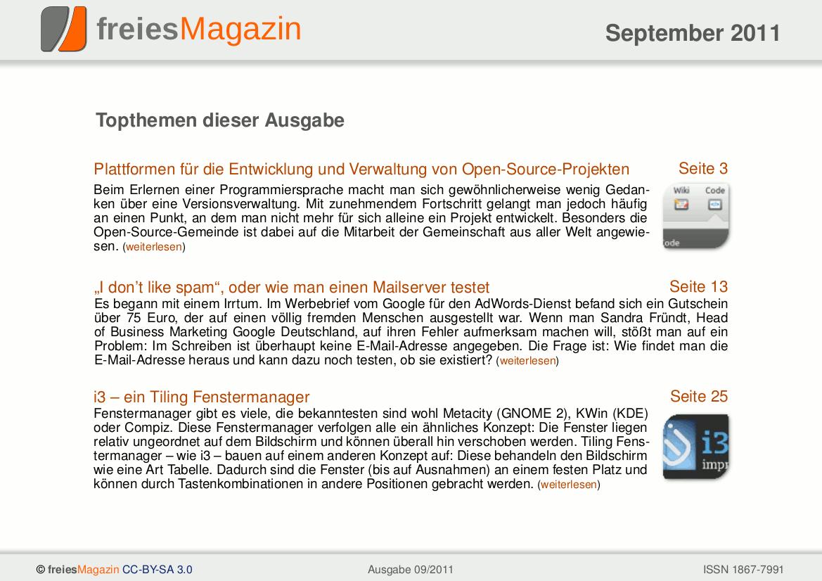 freiesMagazin 09/2011 Titelseite