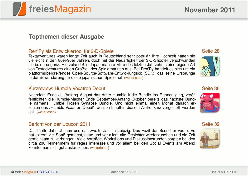 freiesMagazin 11/2011 Titelseite