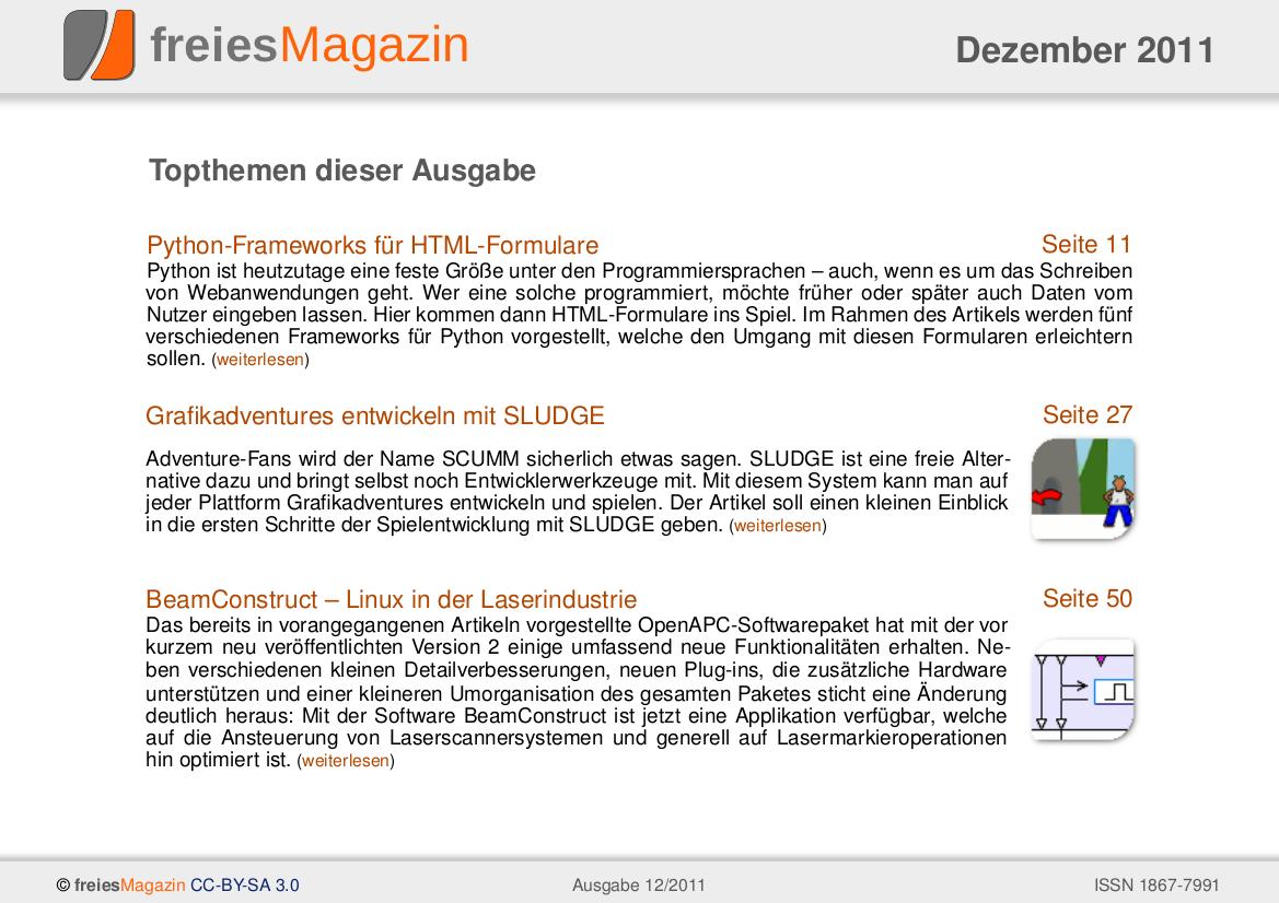 freiesMagazin 12/2011 Titelseite