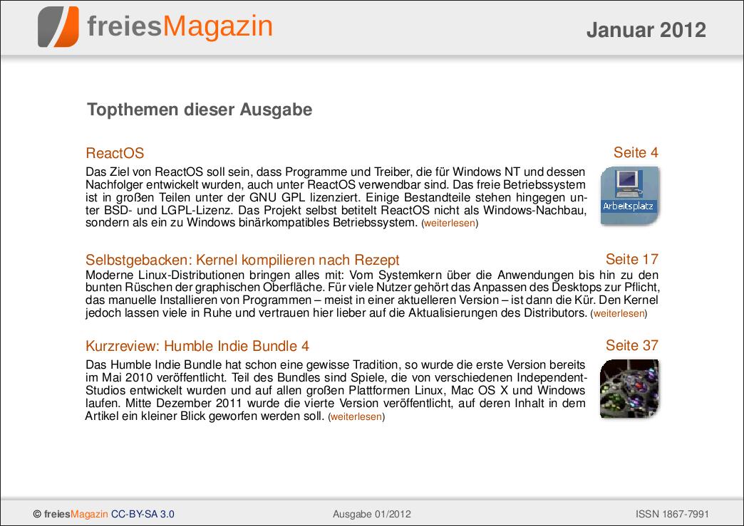 freiesMagazin 01/2012 Titelseite
