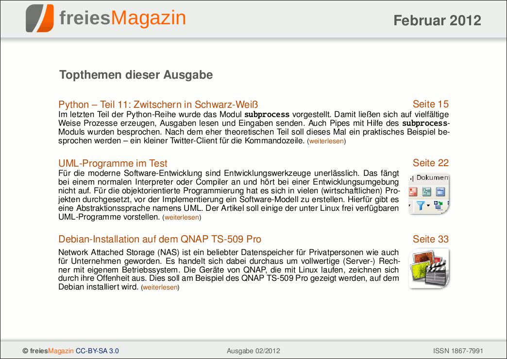 freiesMagazin 02/2012 Titelseite
