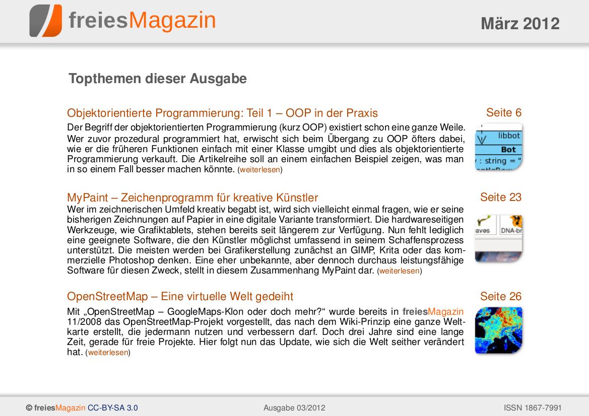 freiesMagazin 03/2012 Titelseite