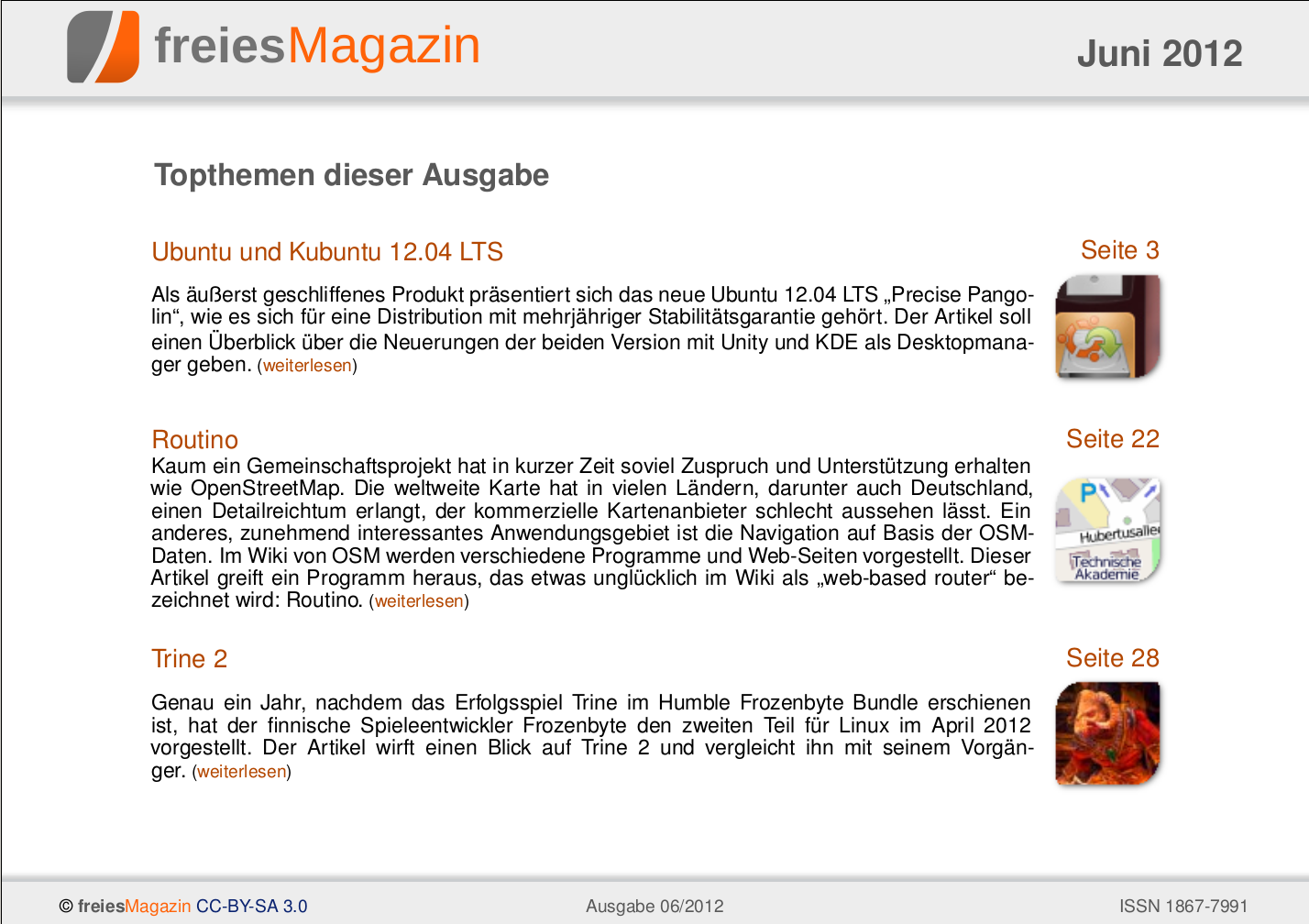 freiesMagazin 06/2012 Titelseite