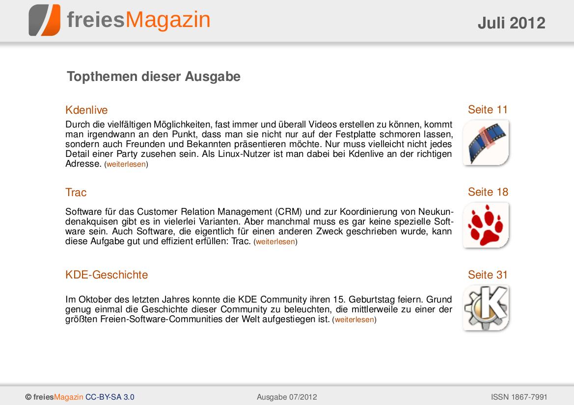 freiesMagazin 07/2012 Titelseite