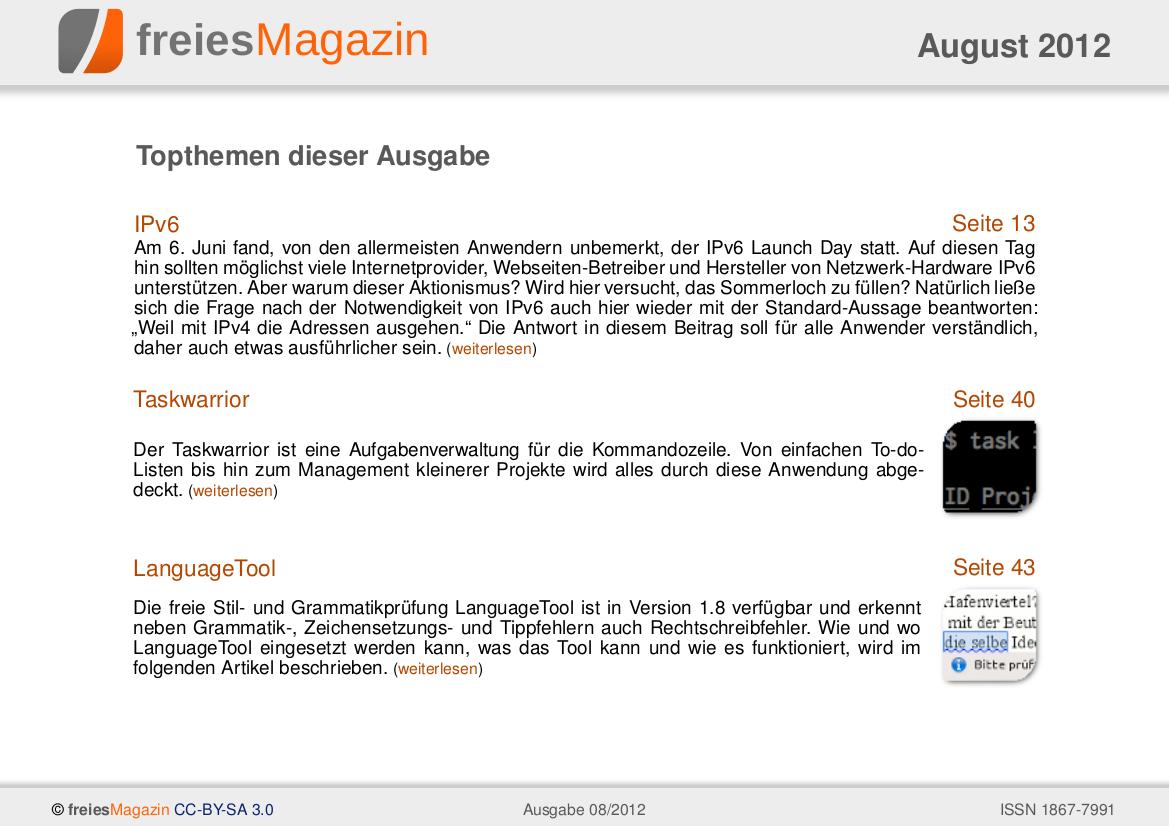 freiesMagazin 08/2012 Titelseite