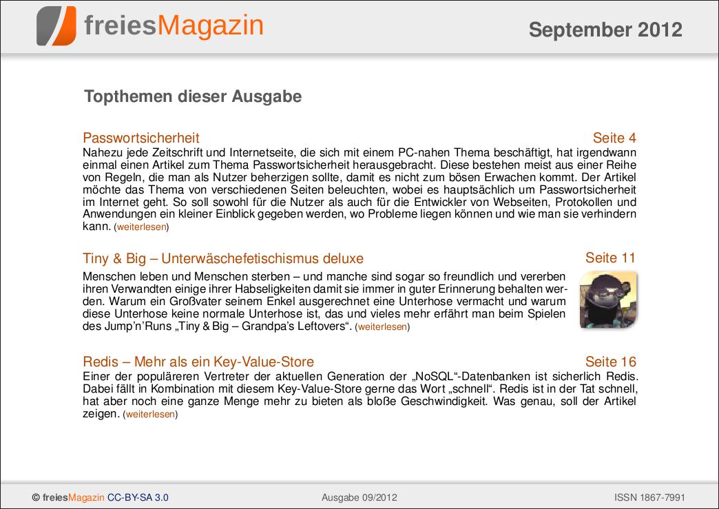 freiesMagazin 09/2012 Titelseite