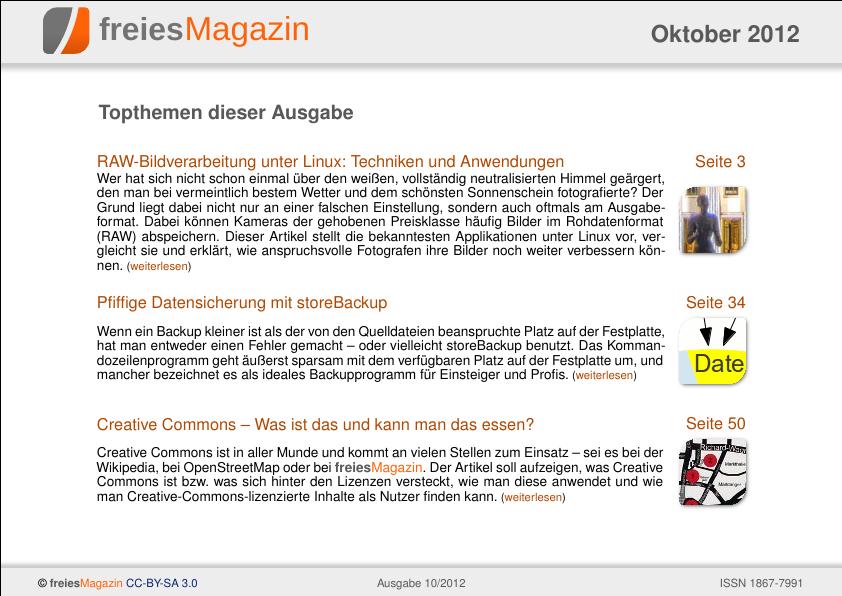 freiesMagazin 10/2012 Titelseite