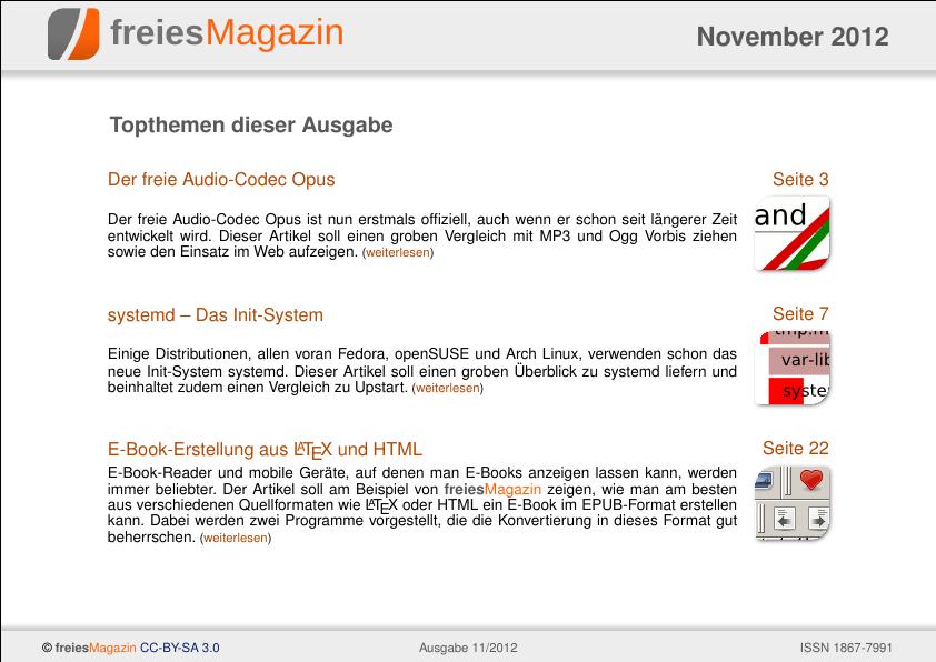 freiesMagazin 11/2012 Titelseite