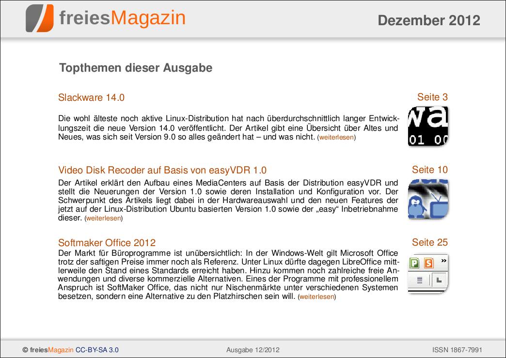 freiesMagazin 12/2012 Titelseite