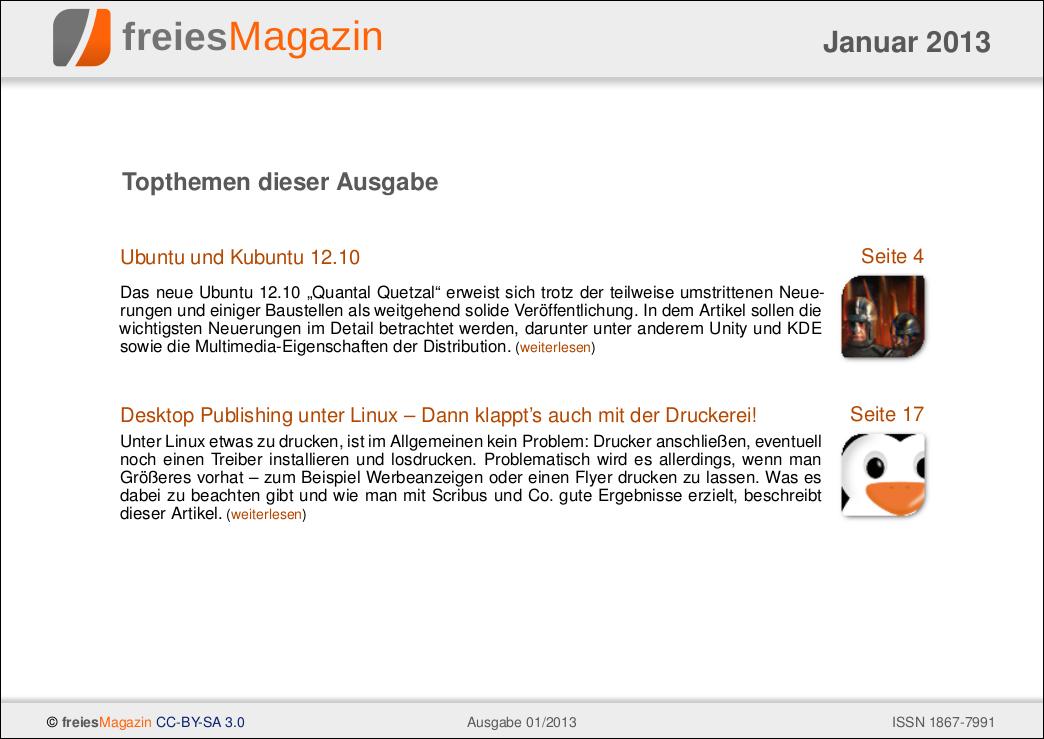 freiesMagazin 01/2013 Titelseite