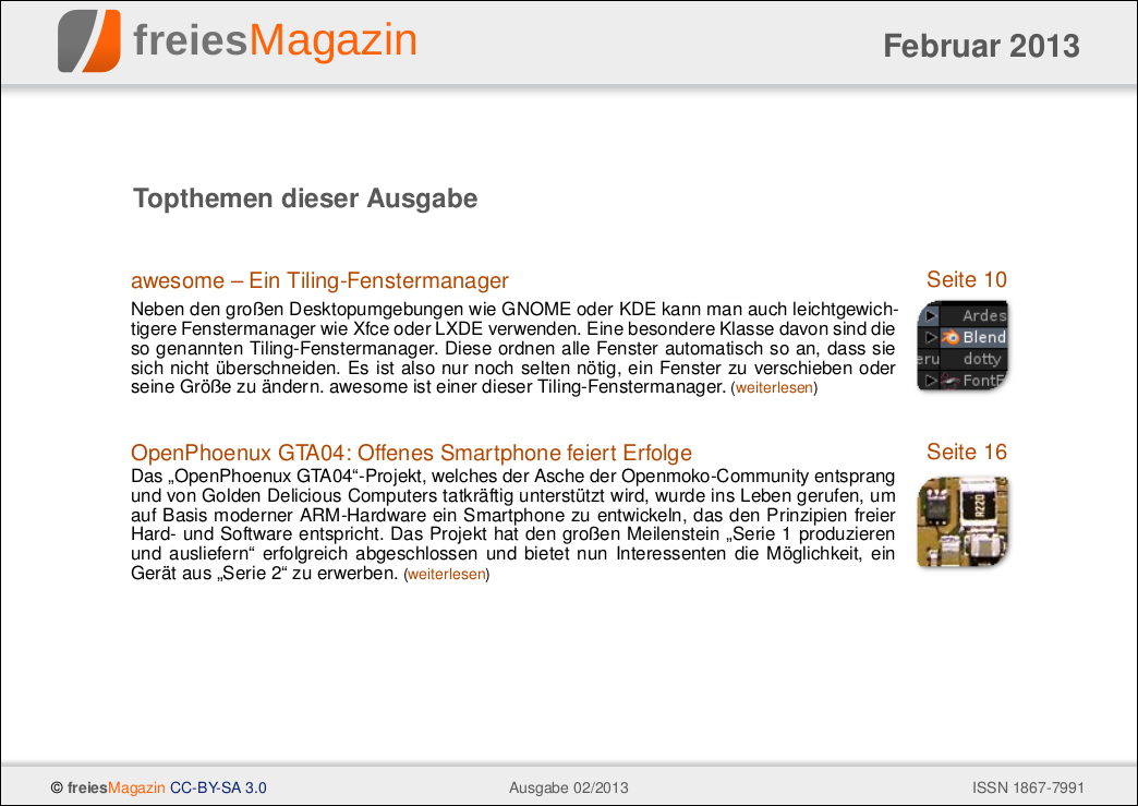 freiesMagazin 02/2013 Titelseite