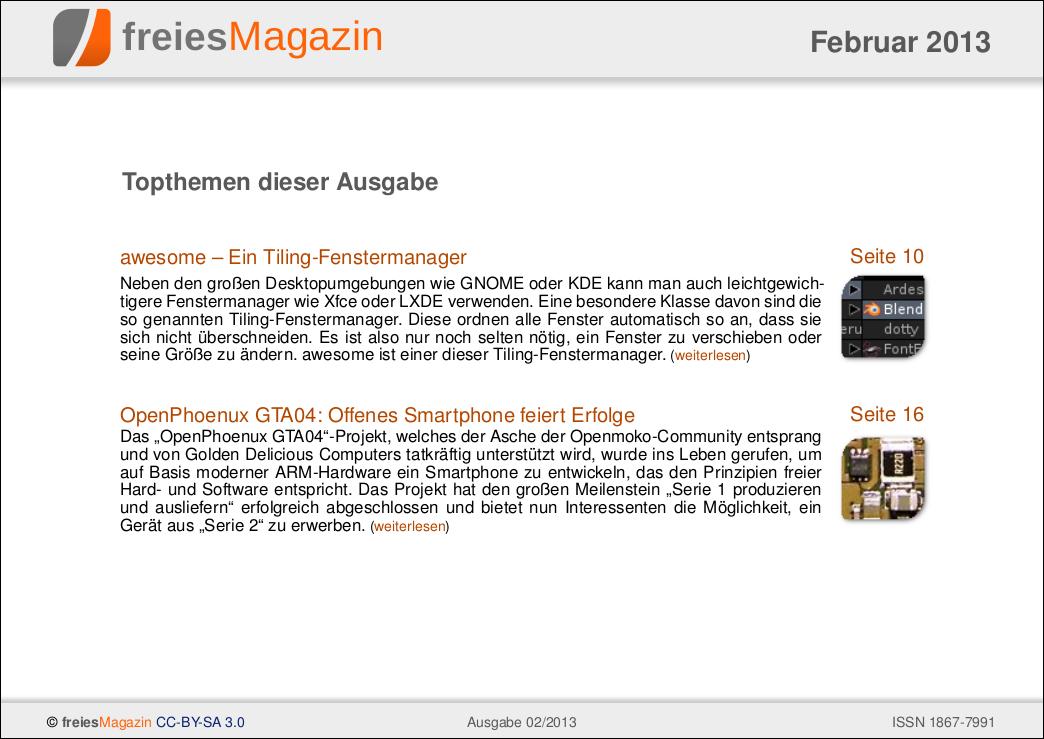 freiesMagazin 02/2013 Titelseite