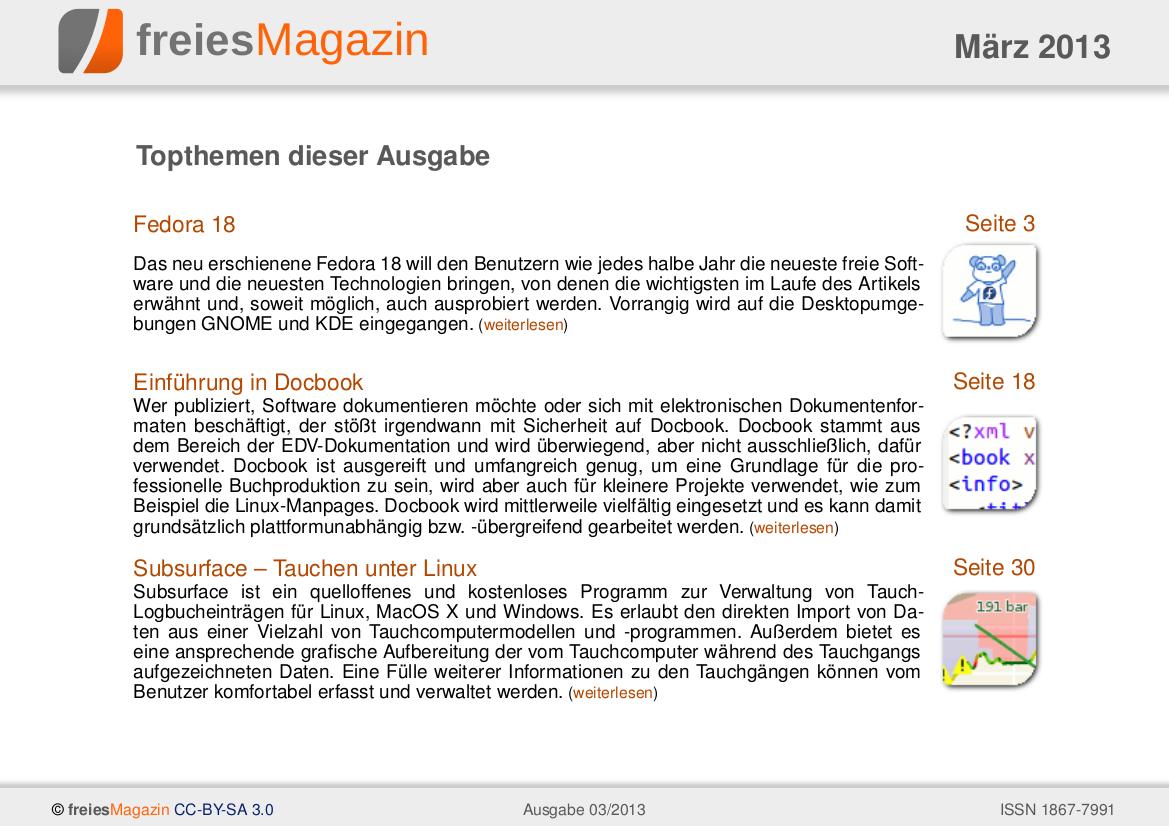 freiesMagazin 03/2013 Titelseite
