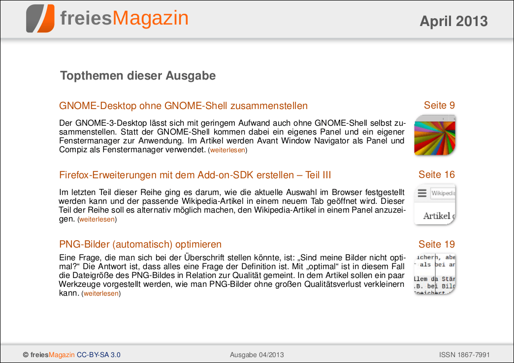 freiesMagazin 04/2013 Titelseite
