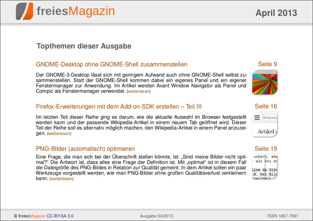 freiesMagazin 04/2013 Titelseite