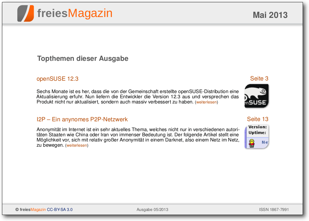 freiesMagazin 05/2013 Titelseite