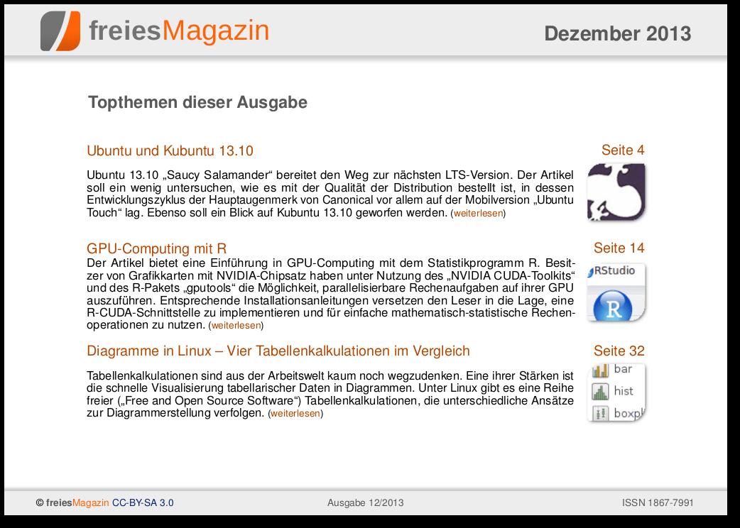 freiesMagazin 12/2013 Titelseite