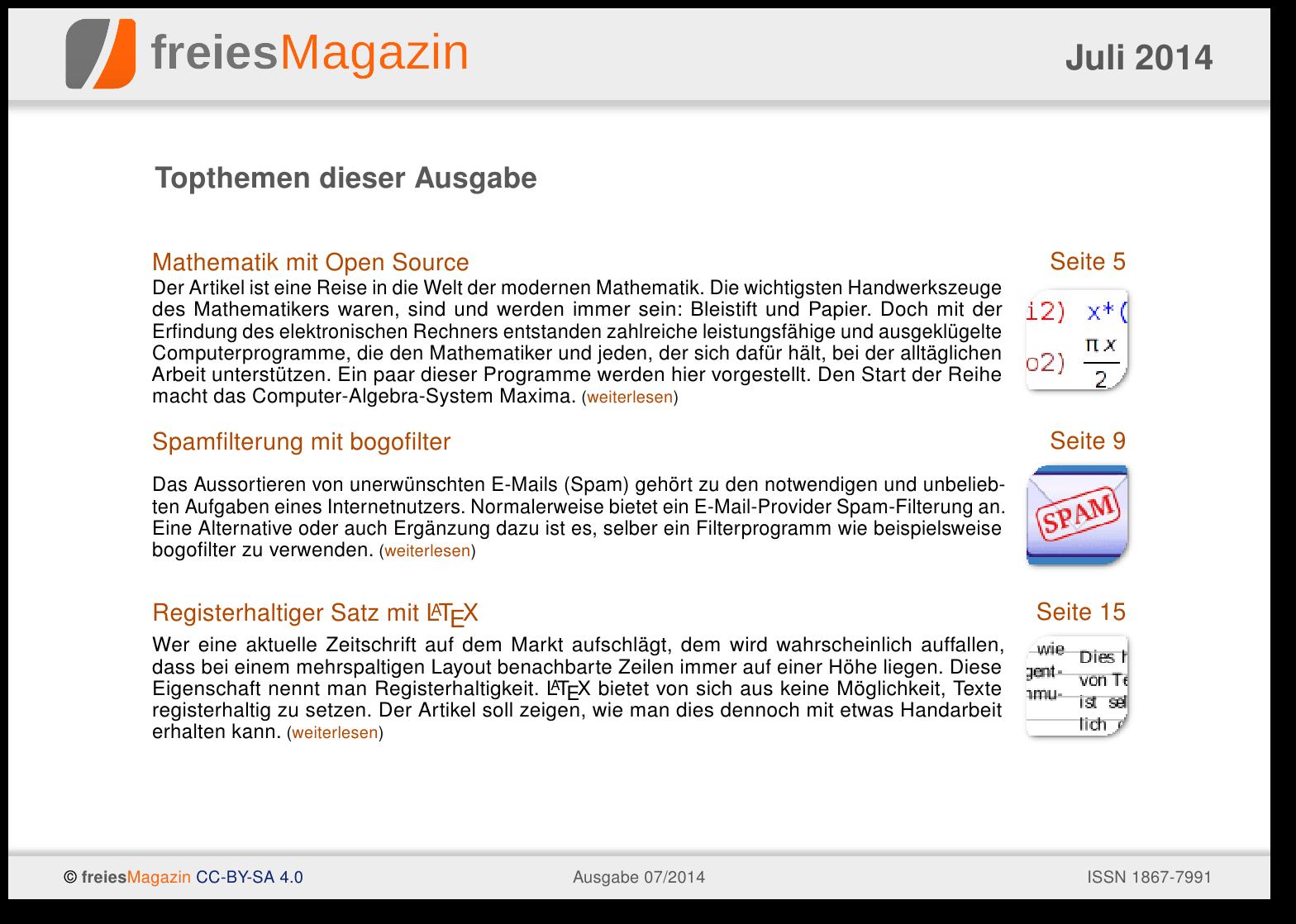 freiesMagazin 07/2014 Titelseite