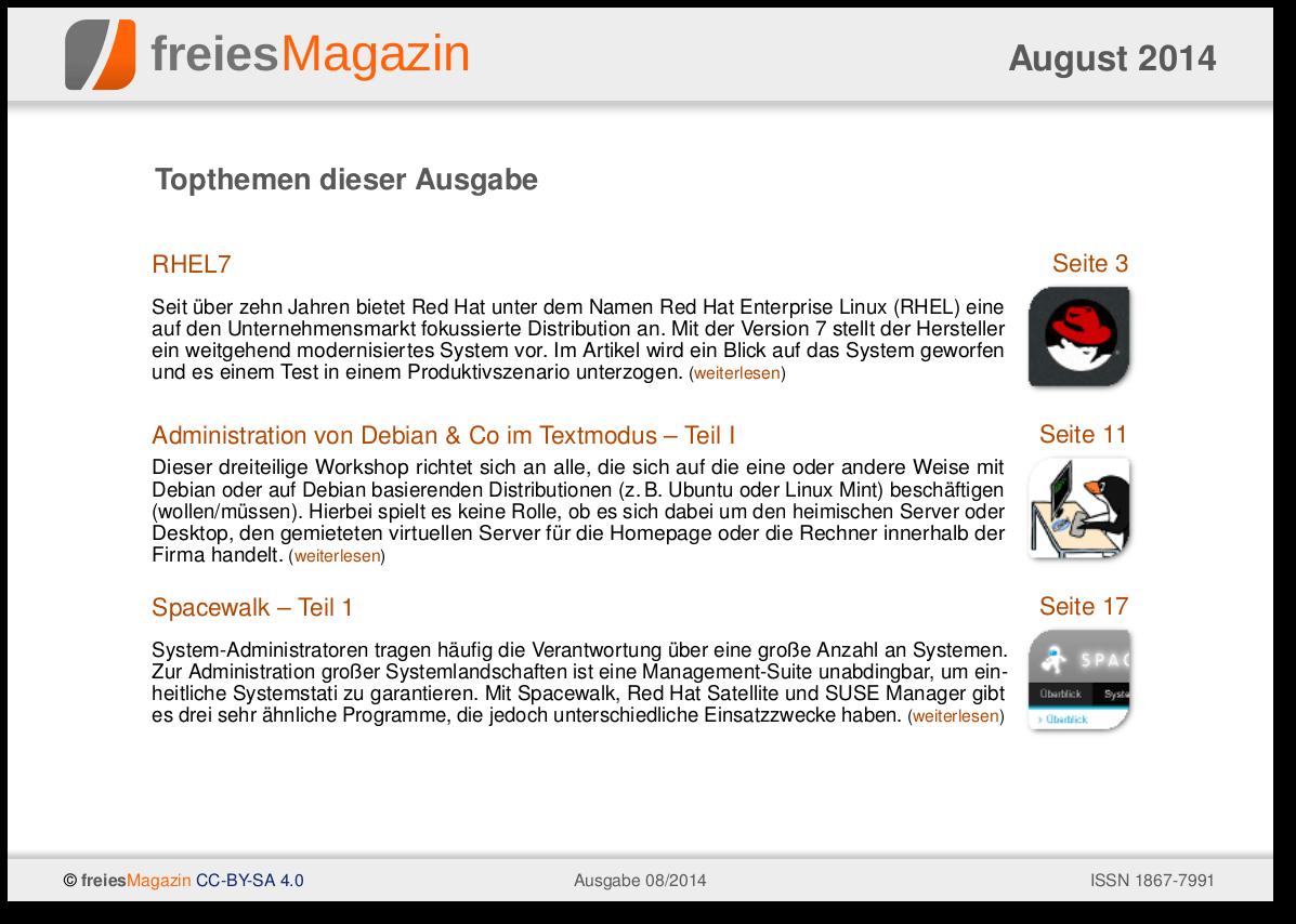 freiesMagazin 08/2014 Titelseite