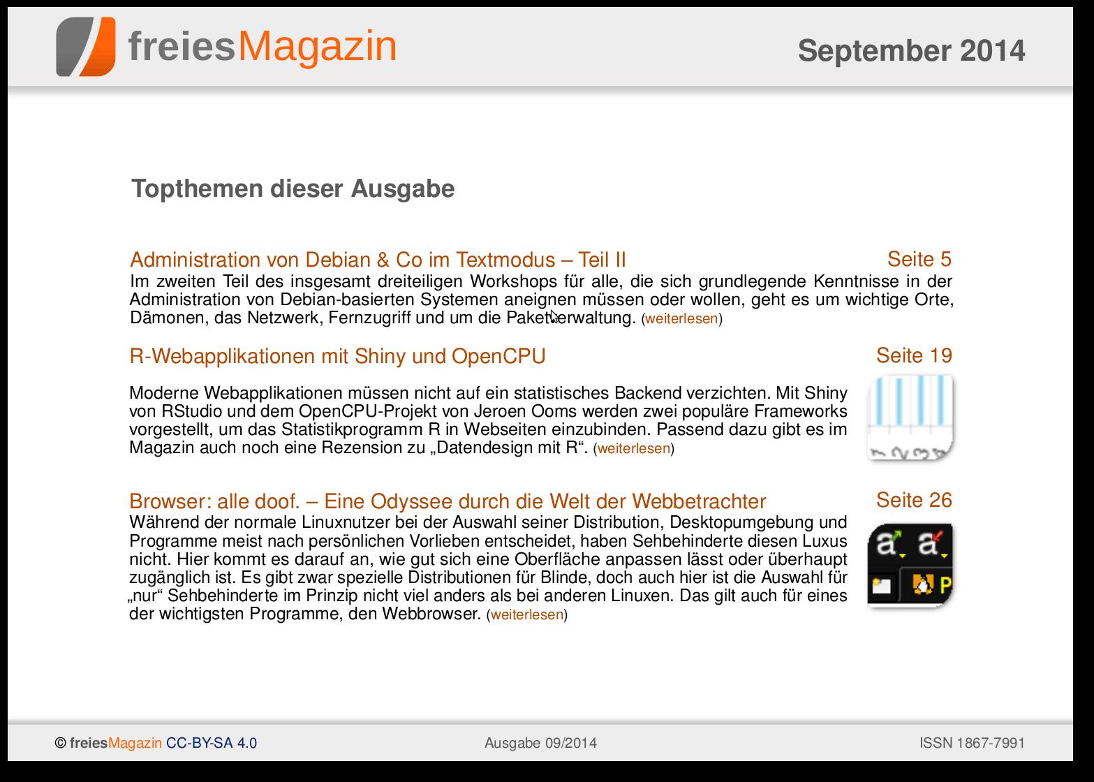 freiesMagazin 09/2014 Titelseite