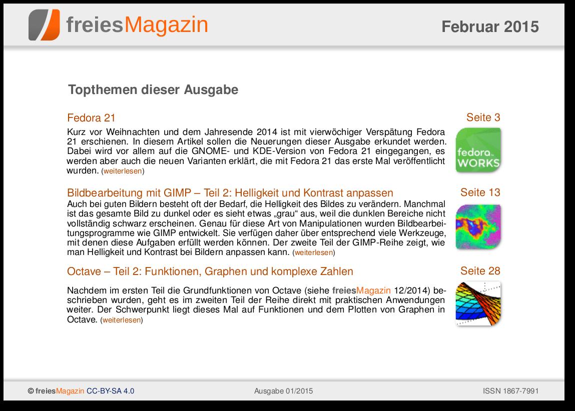 freiesMagazin 02/2015 Titelseite