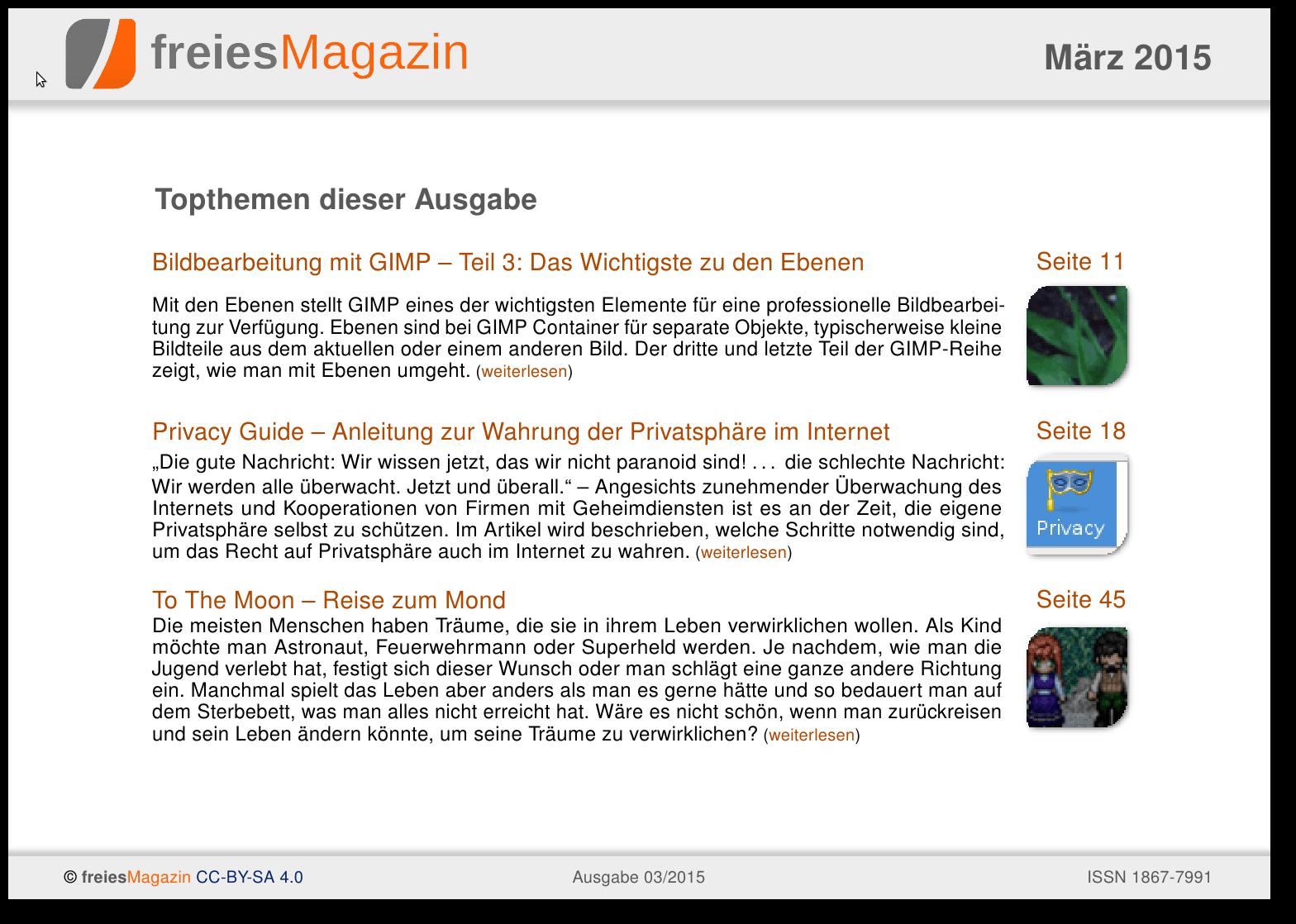 freiesMagazin 03/2015 Titelseite
