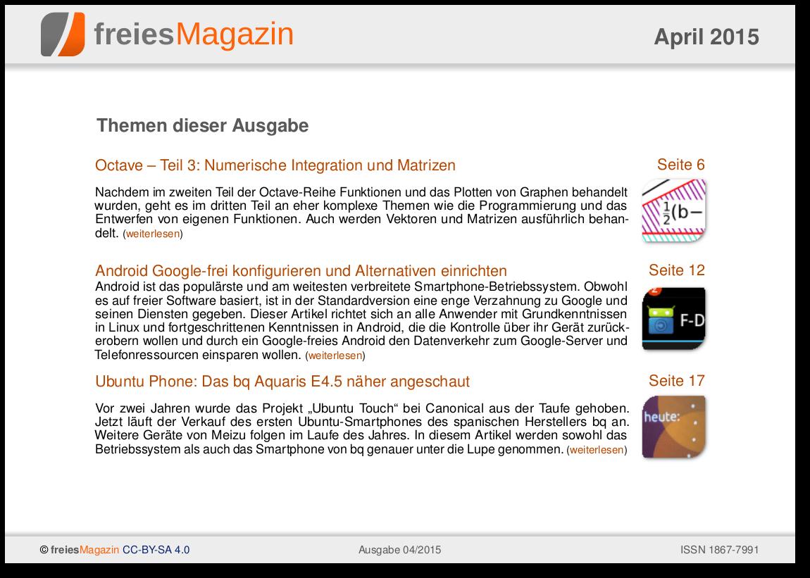 freiesMagazin 04/2015 Titelseite