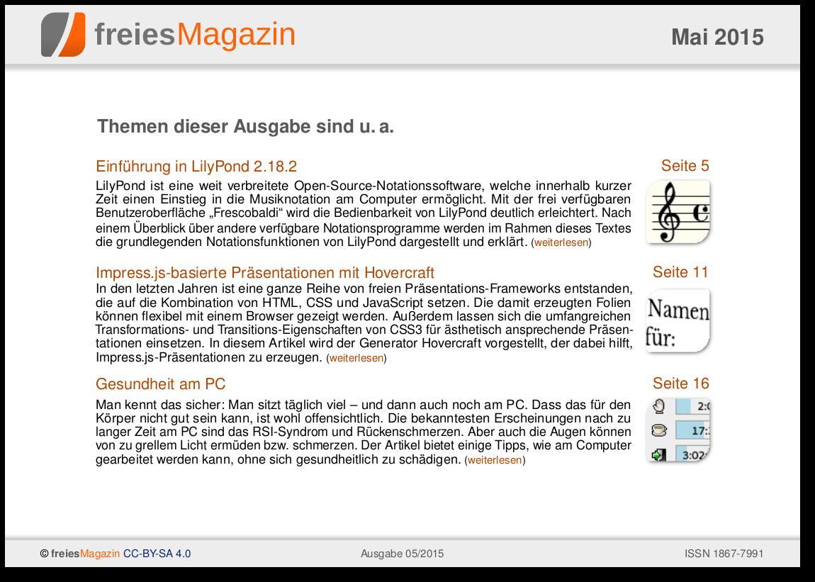 freiesMagazin 05/2015 Titelseite