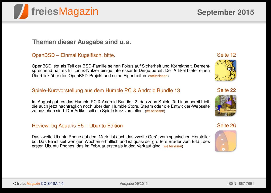 freiesMagazin 09/2015 Titelseite