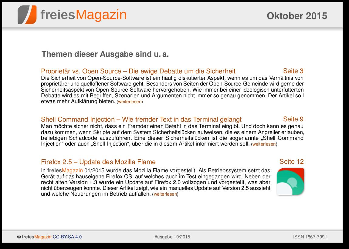 freiesMagazin 10/2015 Titelseite