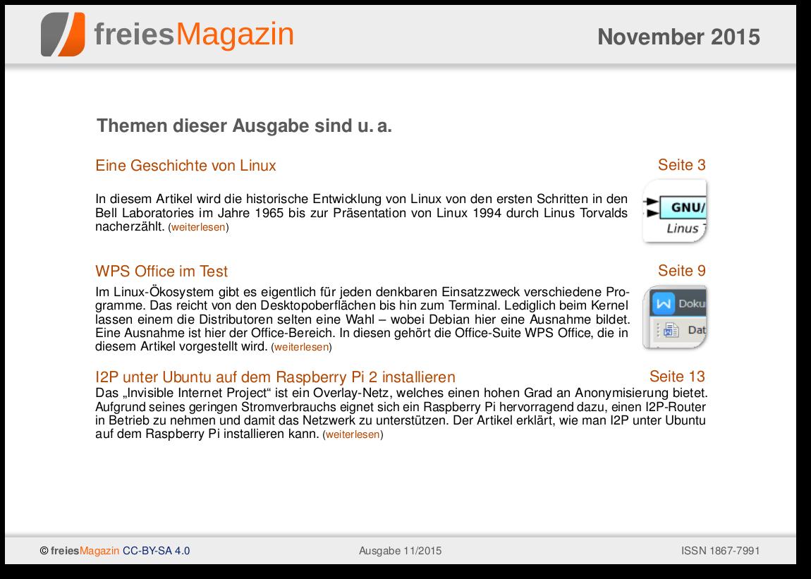 freiesMagazin 11/2015 Titelseite