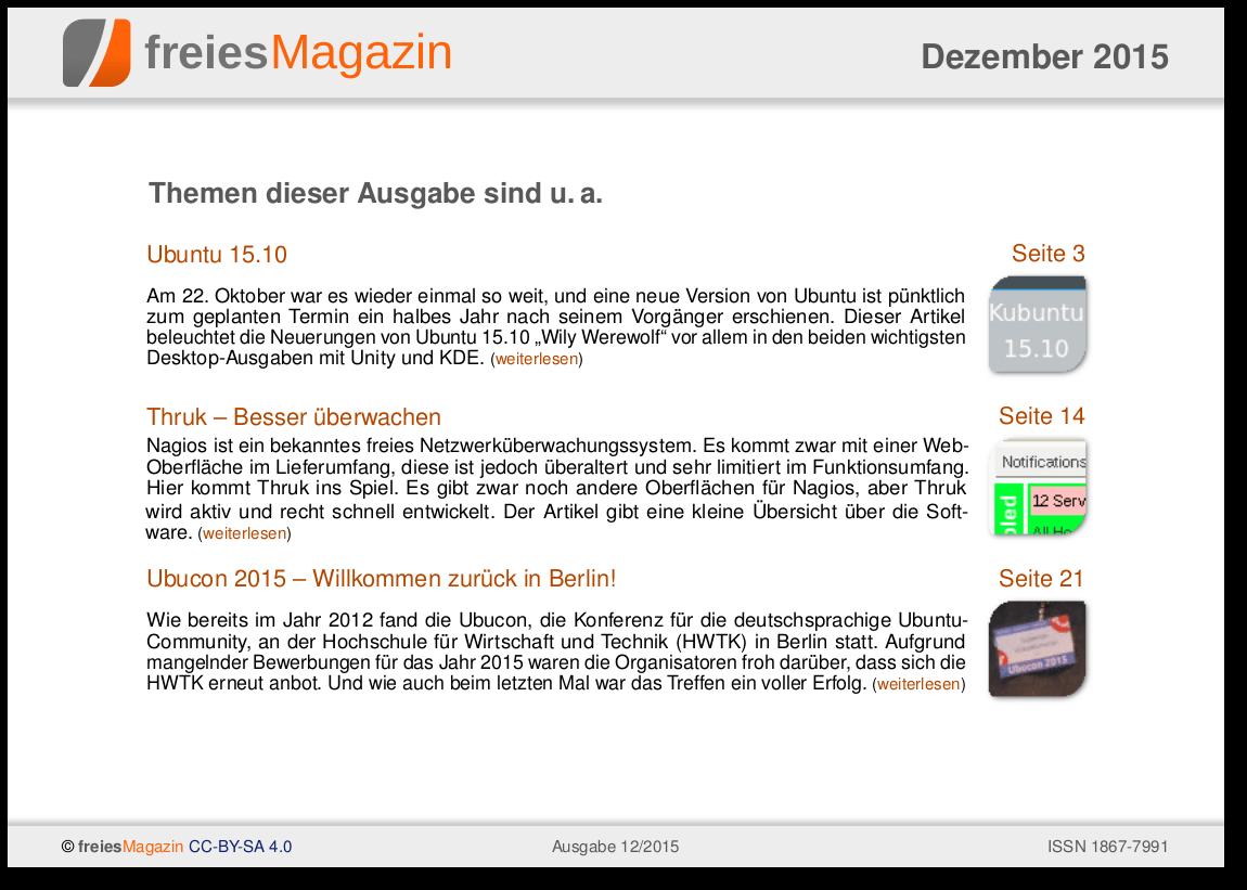 freiesMagazin 12/2015 Titelseite