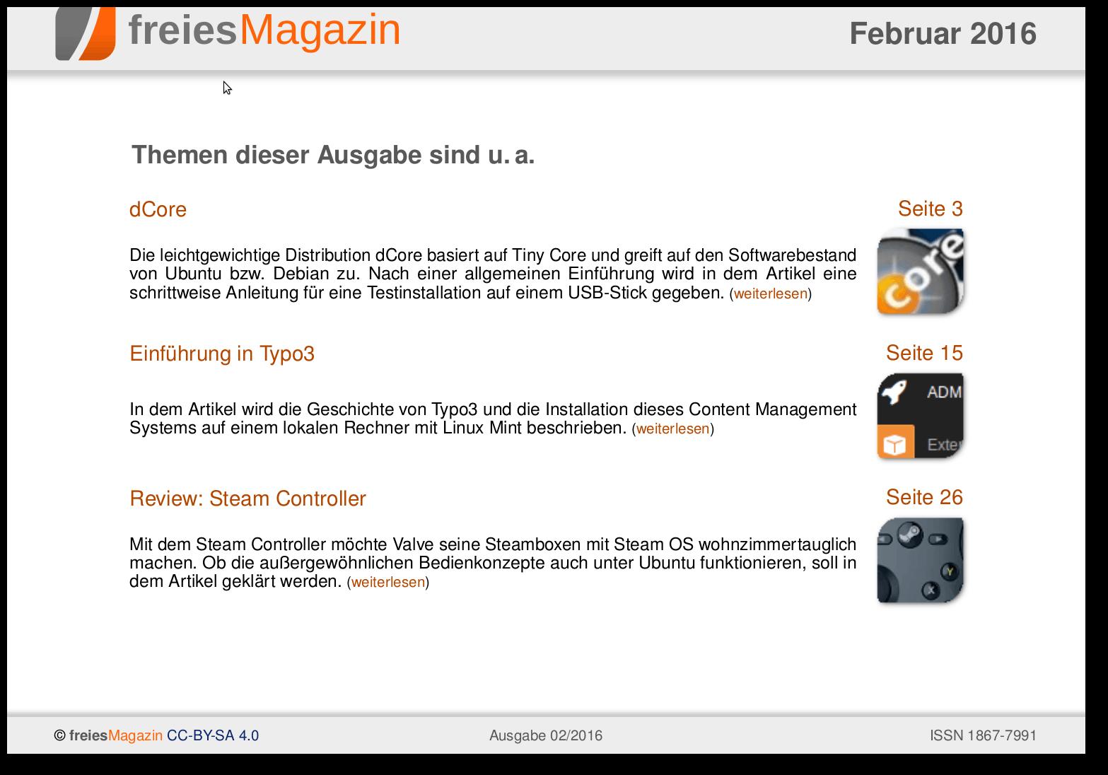 freiesMagazin 02/2016 Titelseite