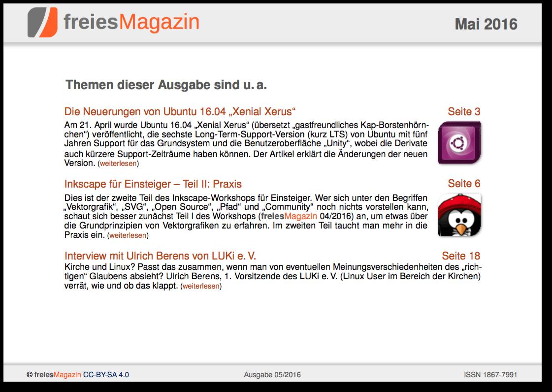 freiesMagazin 05/2016 Titelseite