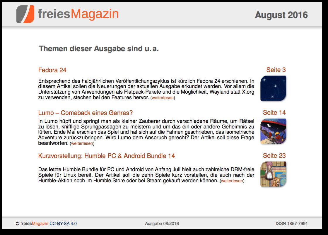 freiesMagazin 08/2016 Titelseite