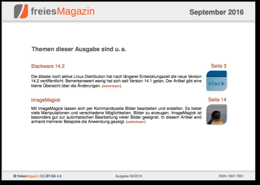 freiesMagazin 09/2016 Titelseite