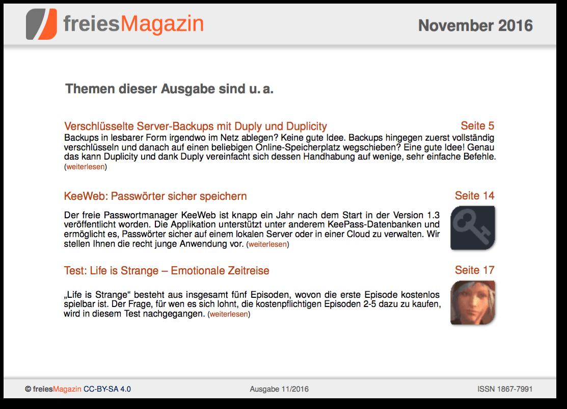 freiesMagazin 11/2016 Titelseite