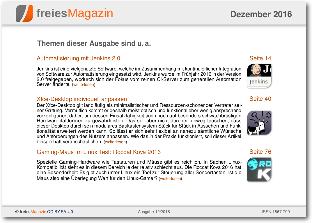 freiesMagazin 12/2016 Titelseite